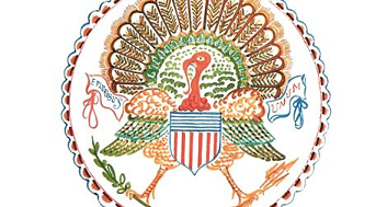 An artist's rendition of the US seal with a turkey in place of the bald eagle