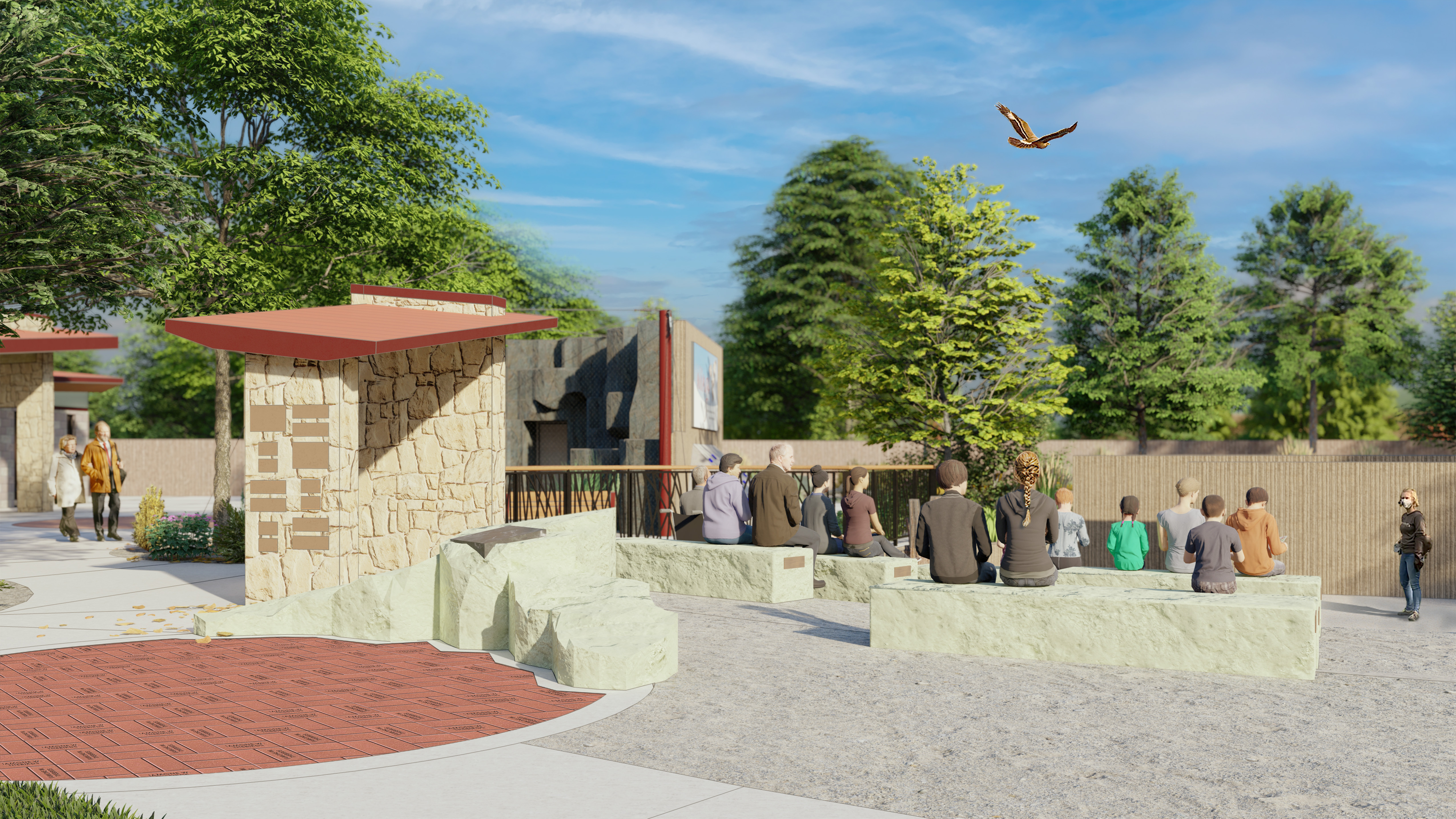 A rendering of the outdoor classroom showcasing the benches and bricks