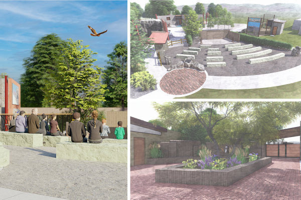 Rendered image collage of outdoor classroom. Right image: people sitting on stone benches watching a falcon fly overhead; Top right image: aerial view of outdoor classroom; Bottom right image is the school field trip/large group entrance and special event space.