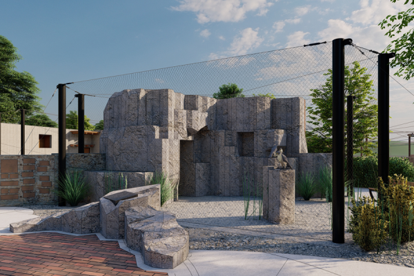 Rendered image of a Peregrine Falcon exhibit, featuring a rock exhibit with Peregrine Falcons perched on top.