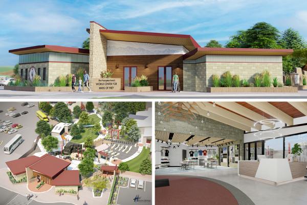 Image renderings of the new welcome center. The top image is the front of the welcome center; bottom left is an aerial view of the campus; bottom right is the gift shop.