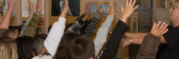 Students raise their hands in a class taught by Volunteer Marcia Franklin
