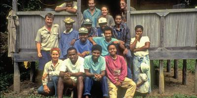 Peregrine Fund researchers with Malagasy residents in the 1990s